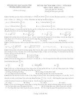 ĐỀ THI THỬ ĐẠI HỌC LẦN 1 NĂM 2014 môn vật lý