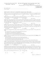 ĐỀ THI THỬ LẦN 1 NĂM 2014 TRƯỜNG CHUYÊN LÊ QUÝ ĐÔN TỈNH BÀ RỊA VŨNG TÀU môn vật lý có đáp án