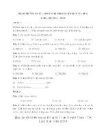 Đề kiểm tra cuối học kì 1 lớp 5 môn Toán - TH Lam Sơn năm 2014