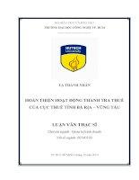 Hoàn thiện hoạt động thanh tra thuế của cục thuế tỉnh Bà Rịa-Vũng Tàu