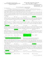 Đề thi thử lần 1 THPT Lương Ngọc Quyến - Thái Nguyên môn vật lý