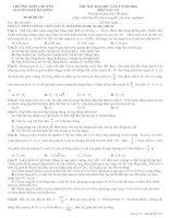 Đề thi thử đại học trường chuyên Nguyễn Huệ lần 2 năm 2014 môn vật lý (có đáp án)