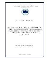 Vận dụng chuẩn mực kế toán quốc tế để hoàn thiện việc trình bày báo cáo bộ phận của các công ty niêm yết trên sàn chứng khoán việt nam