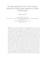 The appropriateness of CLT focus on form instruction to high school students at To Hien Thanh School