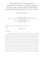 The effectiveness of using games as supplementary activities in teaching grammar for junior high school students at Wellspring International Bilingual School Action research