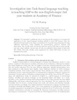 Investigation into Task-based language teaching in teaching ESP to the non-English major 2nd year students at Academy of Finance
