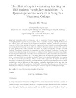 The effect of explicit vocabulary teaching on ESP students' vocabulary acquisition – A Quasi-experimental research in Vung Tau Vocational College