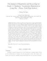The Impact of Repetition and Recycling on Grade 11 Students' Vocabulary Retention in Long Hai – Phuoc Tinh High School