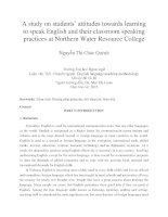 study on students' attitudes towards learning to speak English and their classroom speaking practices at Northern Water Resource College