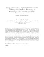 Using group work in english grammar lessons for first-year students in the college of technologies and economics in trade