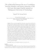 The relationship between the use of vocabulary learning strategies and learner autonomy of the first year non-major English students at Thainguyen University of Technology