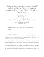 The impact of a genre-based approach on 11th students' writing performance An action research at Tuyen Quang Gifted High School, Tuyen Quang