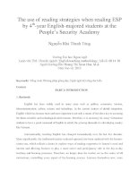 The use of reading strategies when reading ESP by 4th-year English-majored students at the People's Security Academy