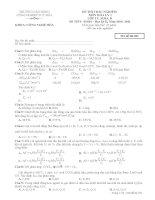 tổng hợp các đề thi trắc nghiệm kết thúc học phần môn hóa lý có đáp án