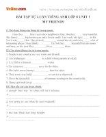 Bài tập tiếng anh lớp 8 unit 1 my friends