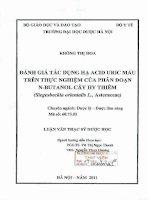Đánh giá tác dụng hạ acid uric máu trên thực nghiệm của phân đoạn n butanol cây hy thiêm (siegesbeckia orientalis l , asteraceae)