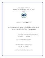 Các nhân tố tác động đến hoạt động mua lại Ngân hàng thương mại tại Việt Nam  Luận văn thạc sĩ  2014
