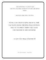 NÂNG CAO CHẤT LƯỢNG DỊCH VỤ THẺ TẠI NGÂN HÀNG TMCP ĐẦU TƯ VÀ PHÁT TRIỂN VIỆT NAM CHI NHÁNH TPHCM LUẬN VĂN THẠC SĨ