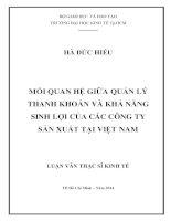 Mối quan hệ giữa quản lý thanh khoản và khả năng sinh lợi của các công ty sản xuất tại Việt Nam