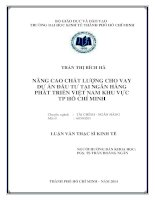 Nâng cao chất lượng cho vay dự án đầu tư tại ngân hàng phát triển Việt Nam khu vực TPHCM  Luận văn thạc sĩ  2014