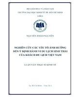 Nghiên cứu các yếu tố ảnh hưởng đến ý định hành vi du lịch sinh thái của khách du lịch Việt Nam  Luận văn thạc sĩ  2014