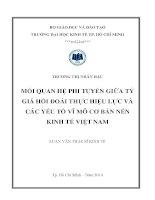Luận văn thạc sĩ Mối quan hệ phi tuyến giữa tỷ giá hối đoái thực hiệu lực và các yếu tố vĩ mô cơ bản nền kinh tế Việt Nam
