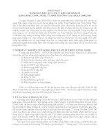 ĐÁNH GIÁ kết QUẢ THỰC HIỆN kế HOẠCH KHOA học CÔNG NGHỆ và môi TRƯỜNG GIAI đoạn 2006 2010