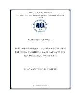 Phân tích mối quan hệ giữa chính sách tài khóa, tài khoản vãng lai và tỷ giá hối đoái thực ở Việt Nam  Luận văn thạc sĩ  2014
