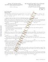 Đề thi thử ĐH lần 3 môn Hóa học Trường THPT Chuyên Lê Khiết