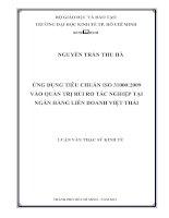 ỨNG DỤNG TIÊU CHUẨN ISO 31000 2009 VÀO QUẢN TRỊ RỦI RO TÁC NGHIỆP TẠI NGÂN HÀNG LIÊN DOANH VIỆT THÁI.PDF