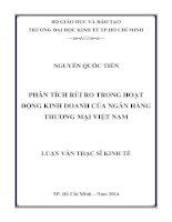 Phân tích rủi ro trong hoạt động kinh doanh của ngân hàng thương mại Việt Nam  Luận văn thạc sĩ