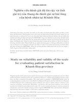 nghiên cứu đánh giá độ tin cậy và tính giá trị của thang đo đánh giá sự hài lòng của bênh nhân tại Khánh Hòa