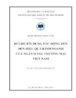 Luận văn thạc sĩ 2014 Rủi ro tín dụng tác động đến hiệu quả kinh doanh của Ngân hàng thương mại Việt Nam