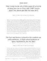 thực trạng và các yếu tố liên quan đến sự tự tin sử dụng bao cao su ở học sinh THPT thành phố Hà Nội năm 2013