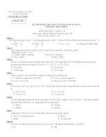 Đề thi kiểm tra chất lượng lớp 12 lần 1 năm học 201420015 môn Hoá học: Khối AB (Mã đề 001)  Trường THPT chuyên Hùng Vương