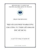 Luận văn Thạc sĩ 2014 Một số giải pháp marketing cho công ty TNHH liên doanh Phú Mỹ Hưng