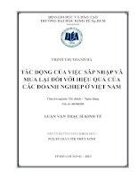 Luận văn thạc sĩ Tác động của việc sáp nhập và mua lại đối với hiệu quả của các doanh nghiệp ở Việt Nam