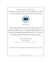 Luận văn thạc sĩ Đánh giá hiệu quả quản lý nhà nước về đào tạo nhân lực y tế trình độ trung cấp chuyên nghiệp theo hình thức cử tuyển và đào tạo theo địa chỉ tỉnh Cà Mau
