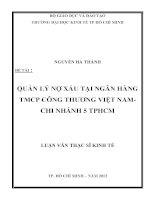 Luận văn thạc sĩ Quản lý nợ xấu tại ngân hàng TMCP công thương Việt Nam - Chi nhánh 5 TPHCM