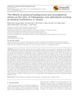 The effects of personal background and occupational stress on the QOL of Vietnamese care attendants working at medical institutions in Taiwan