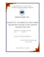 Luận văn thạc sĩ Nghiên cứu tác động của phát triển thị trường vốn đến tăng trưởng kinh tế Việt Nam