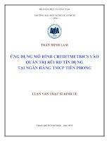 ỨNG DỤNG MÔ HÌNH CREDITMETRICS VÀO QUẢN TRỊ RỦI RO TÍN DỤNG TẠI NGÂN HÀNG TMCP TIÊN PHONG