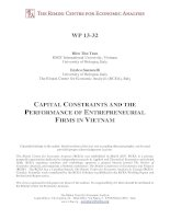 CAPITAL CONSTRAINTS AND THE PERFORMANCE OF ENTREPRENEURIAL FIRMS IN VIETNAM