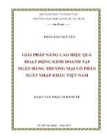Luận văn Thạc sĩ Giải pháp nâng cao hiệu quả hoạt động kinh doanh tại ngân hàng TMCP xuất nhập khẩu Việt Nam