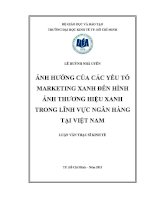 Luận văn Thạc sĩ Ảnh hưởng của các yếu tố marketing xanh đến hình ảnh thương hiệu xanh trong lĩnh vực ngân hàng tại Việt Nam