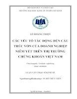 Luận văn thạc sĩ  Các yếu tố tác động đến cấu trúc vốn của doanh nghiệp niêm yết trên thị trường chứng khoán Việt Nam