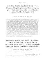 kiến thức, thái độ, thực hành và các yếu tố liên quan bệnh chân tay miệng tại Hòa bình năm 2013