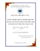 Luận văn thạc sĩ  Hoàn thiện quản trị rủi ro tín dụng tại Ngân hàng thương mại cổ phần kỹ thương Việt Nam