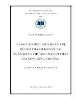 Luận văn thạc sĩ Nâng cao hiệu quả quản trị rủi ro thanh khoản tại Ngân hàng thương mại cổ phần Sài Gòn Công Thương