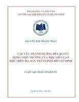 CÁC YẾU TỐ ẢNH HƯỞNG ĐẾN QUYẾT ĐỊNH CHỌN TRƯỜNG CỦA HỌC VIÊN CAO HỌC TRÊN ĐỊA BÀN THÀNH PHỐ HỒ CHÍ MINH.PDF